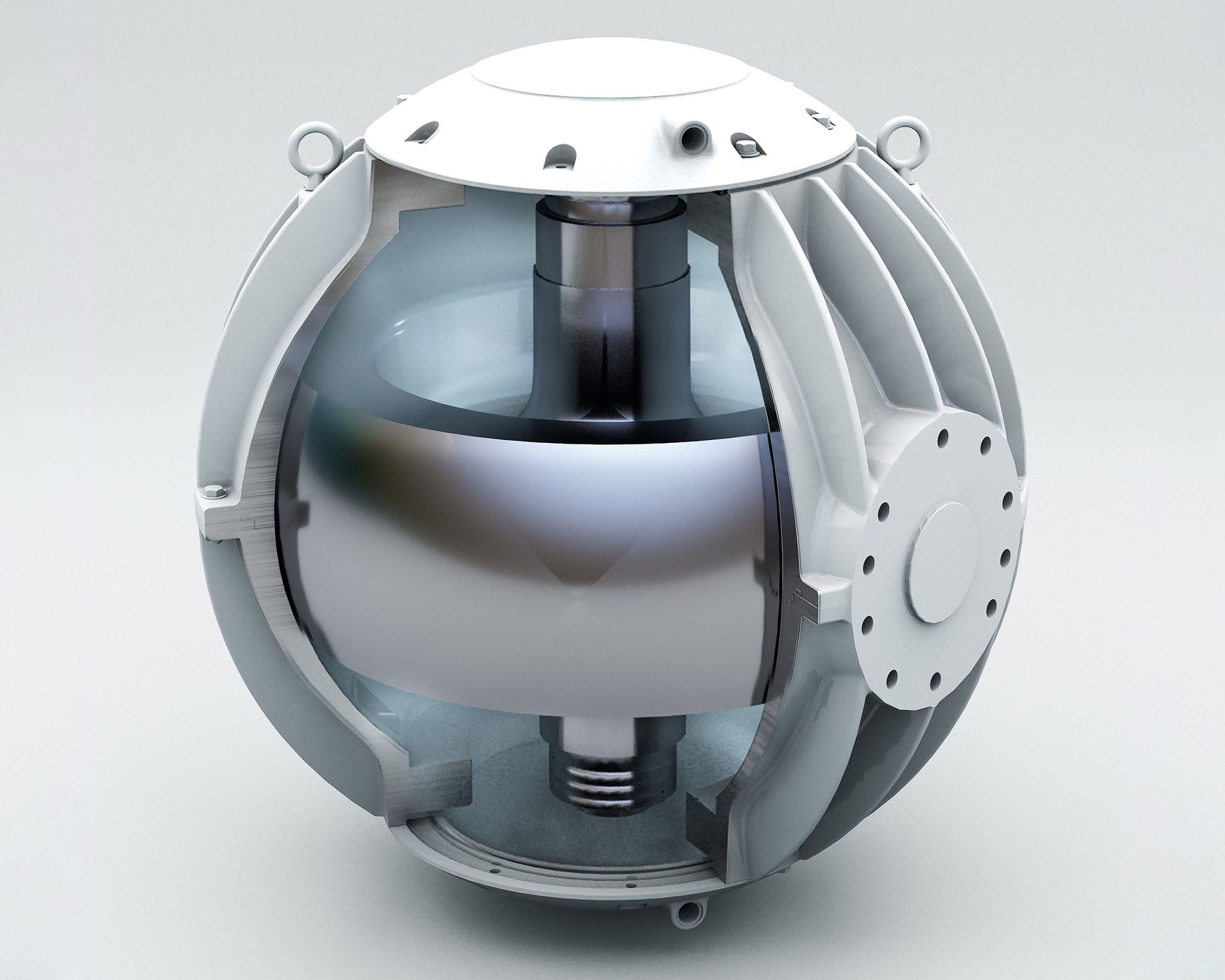 Photo of the gyroscope that is inside of the Seakeeper systems.